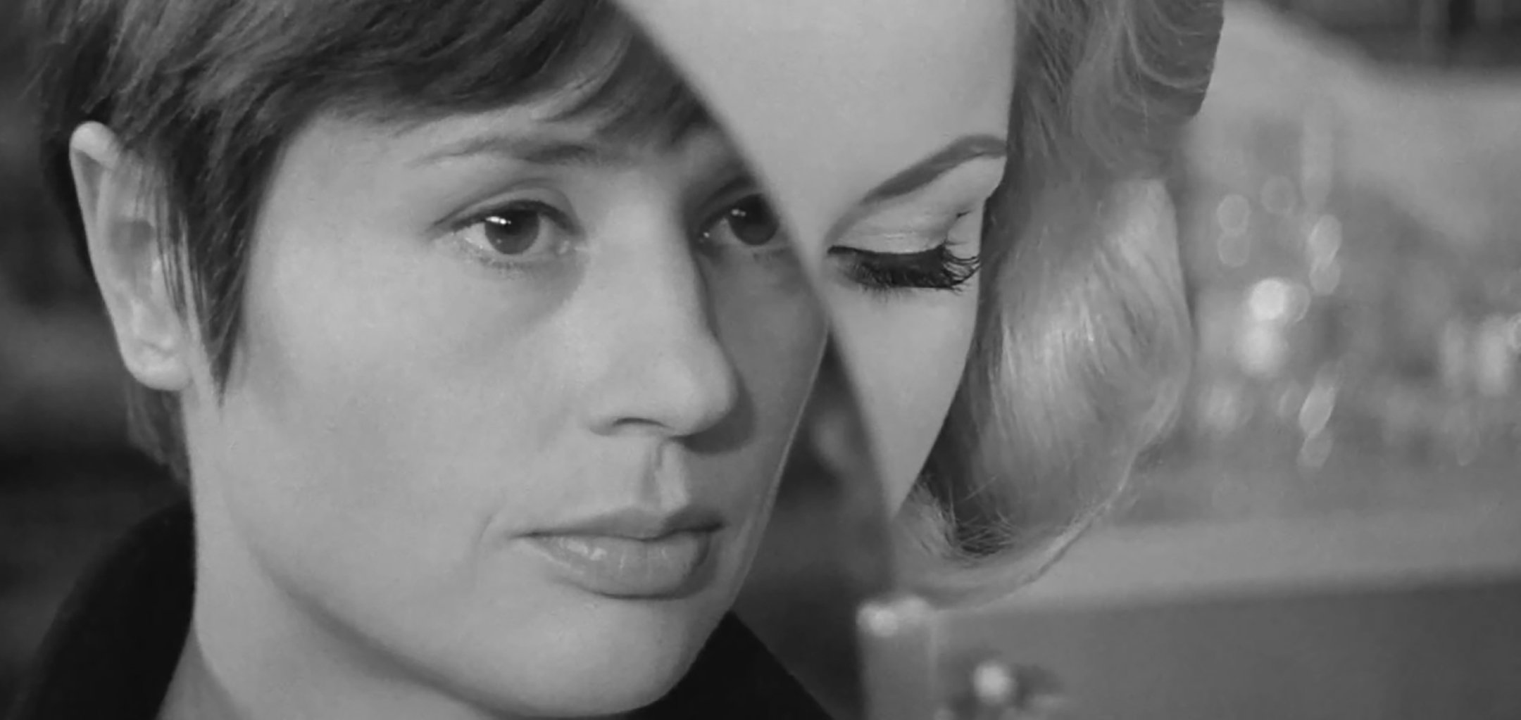 Bibbi Andersson and Harriet Andersson, faces superimposed on top of each other in a still from 'The Girls' (1968)
