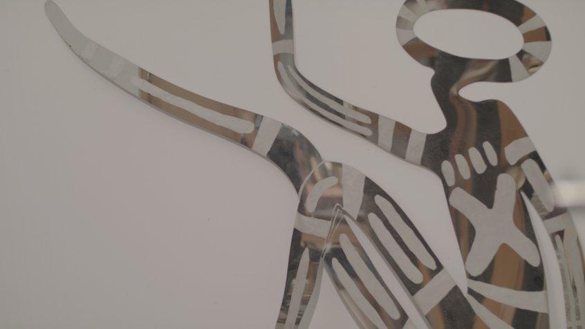 Closeup of Vicki Couzens reflective artwork