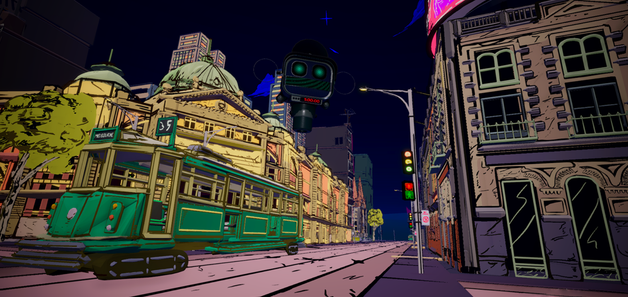 next gen_now hero image -  tram and Melbourne streetscape rendered in comic book style
