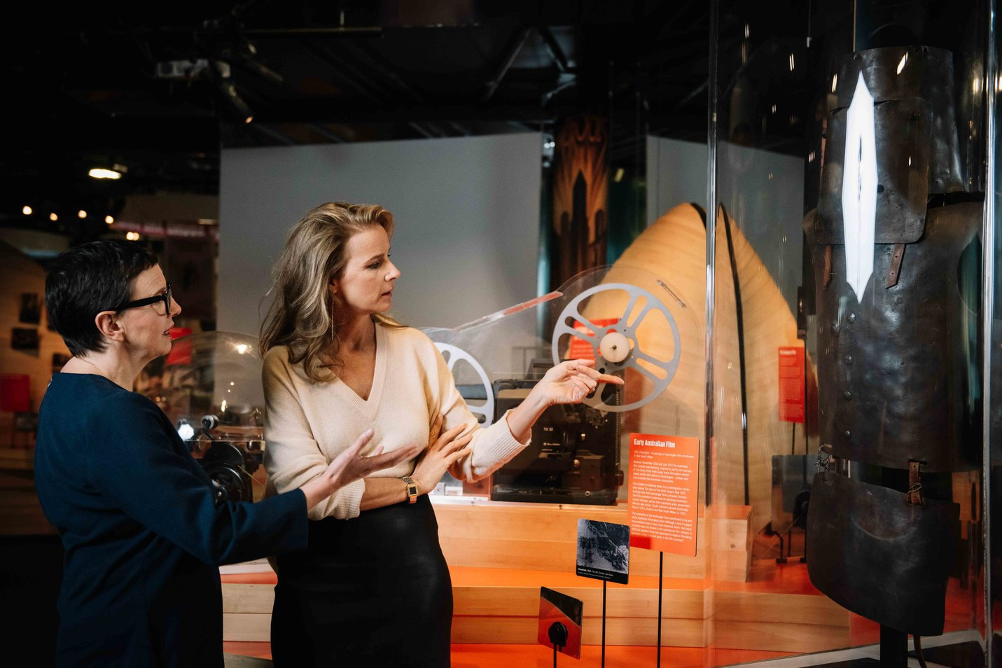 ACMI Director & CEO Katrina Sedgwick with Board Member, Director and Actor Rachel Griffiths look at the costume worn by Orlando Bloom in the 2003 film Ned Kelly. Image credit: Phoebe Powell .jpg