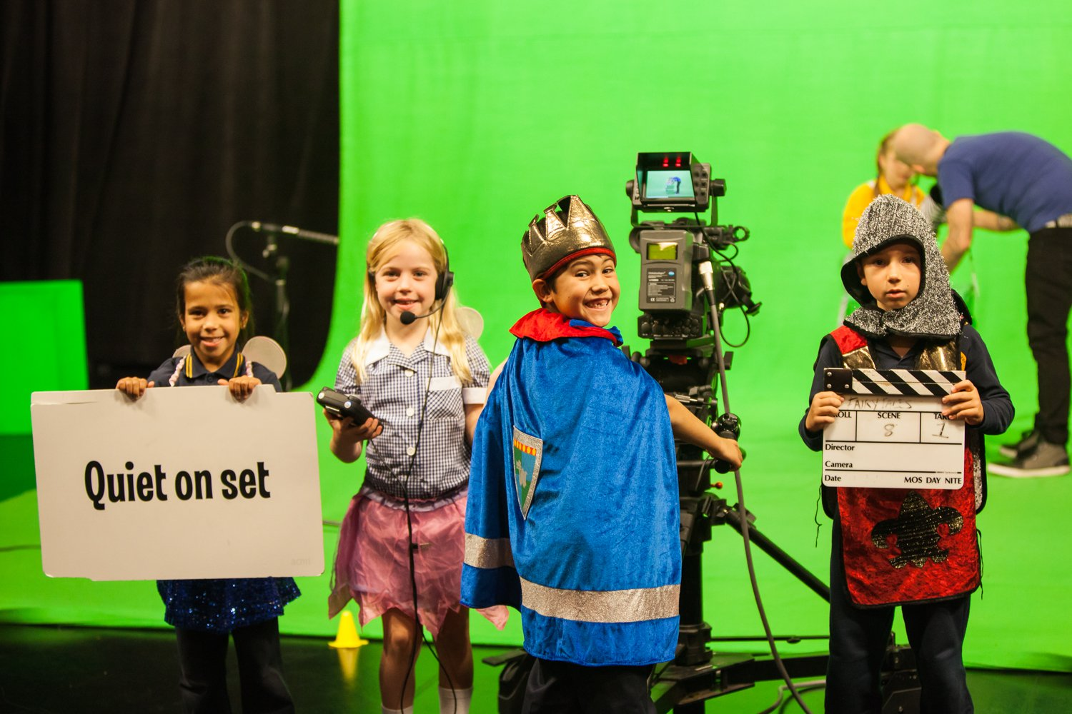 Primary age students on green screen