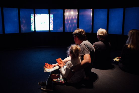 A father and daughter attend WONDERLAND at ACMI. Image credit: Anne Moffat