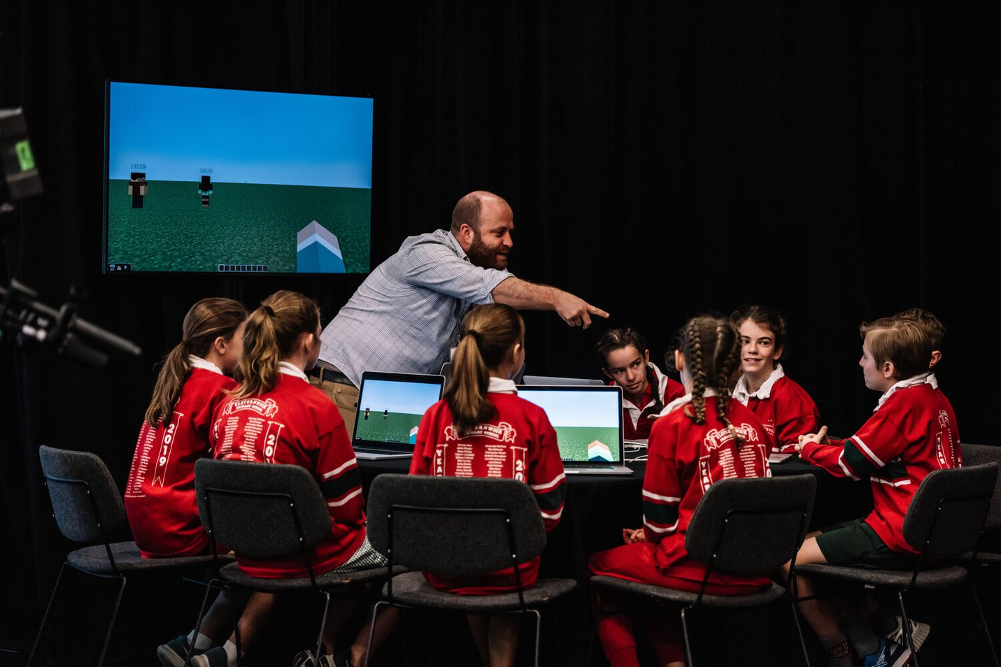 The year six class from Elsternwick Primary School interact with an activity station in the Gandel Digital Future Lab