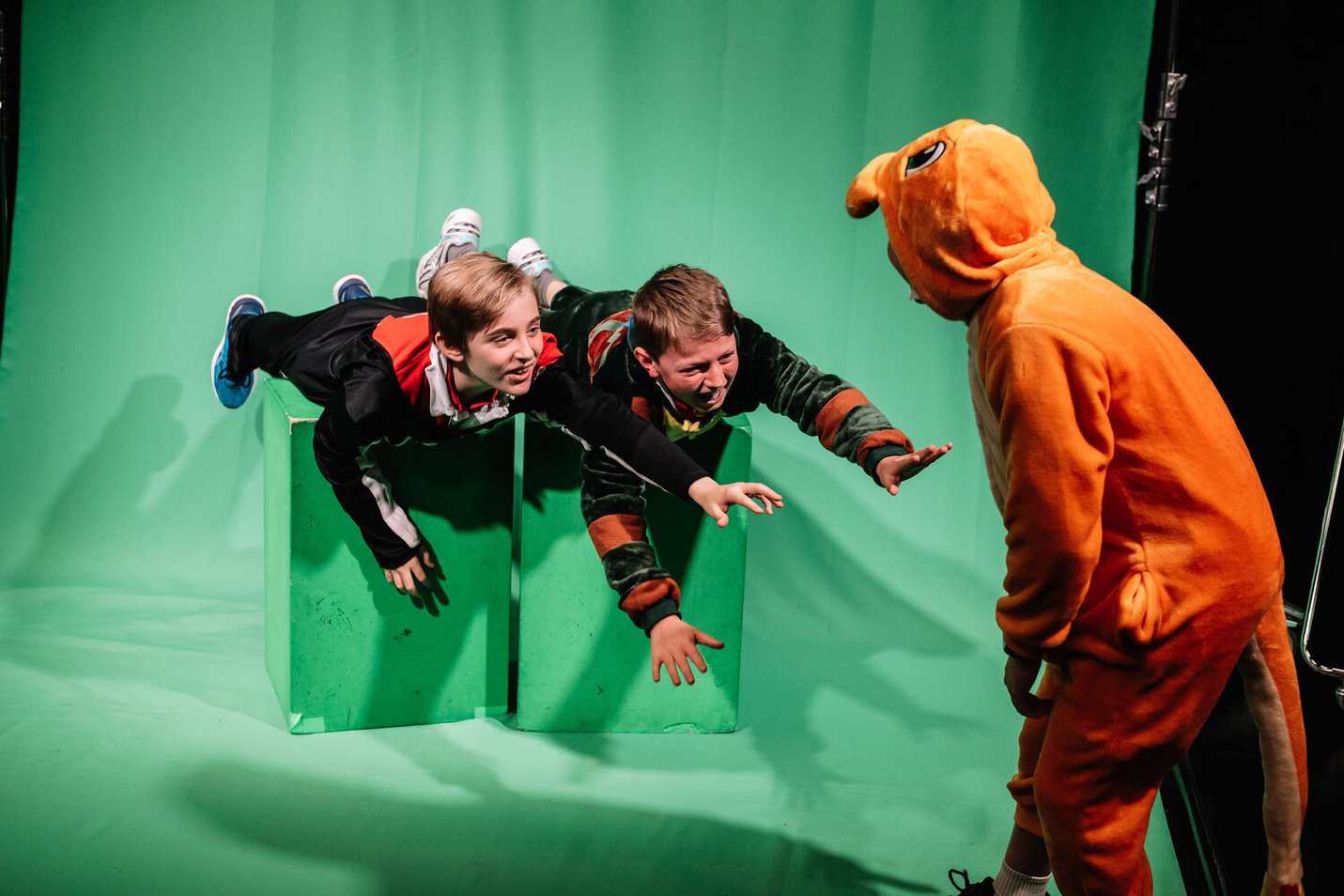 Students from Elsternwick Primary School check out the green screen in the Gandel Digital Future Lab