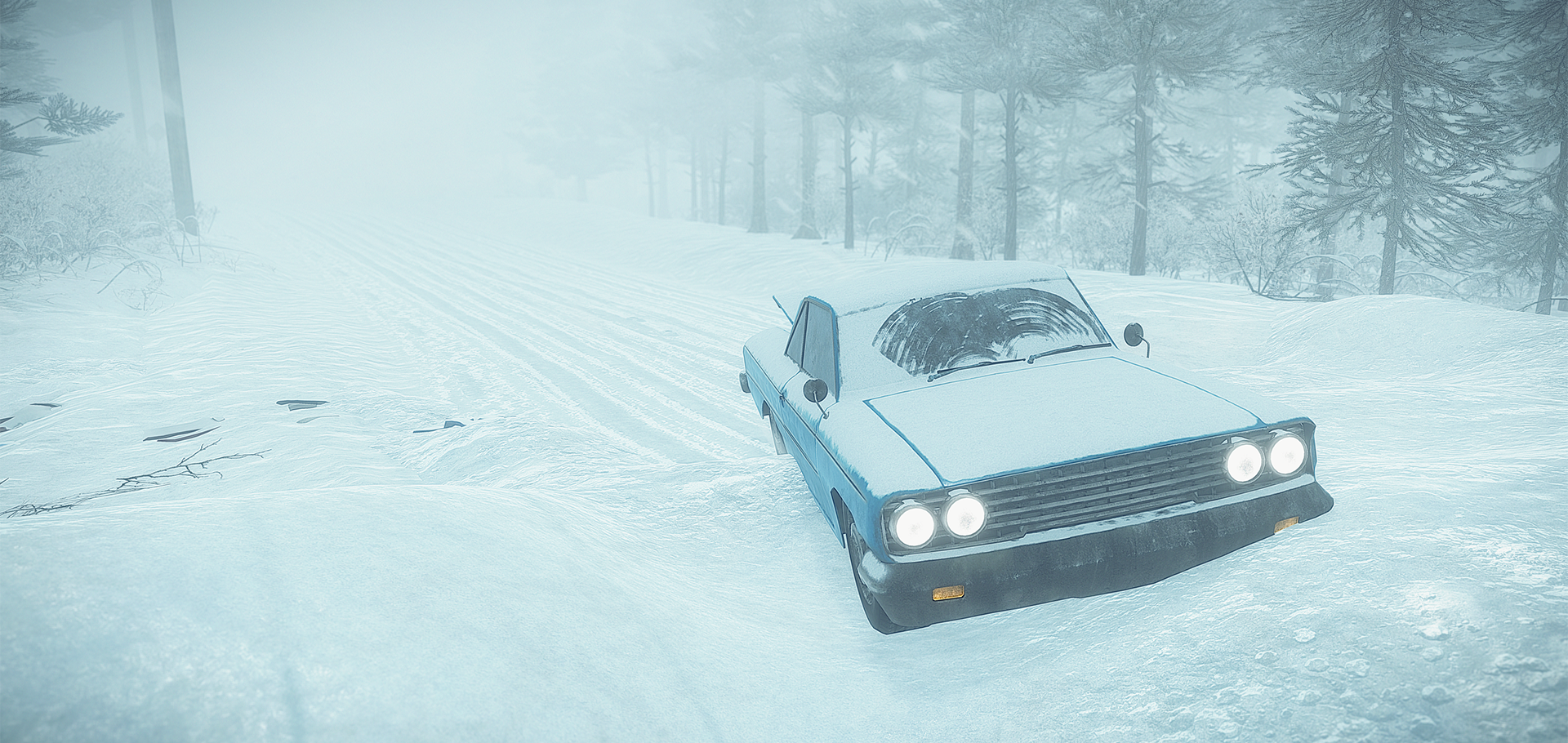 A screenshot from Kona - a car in the snow copy - hero image