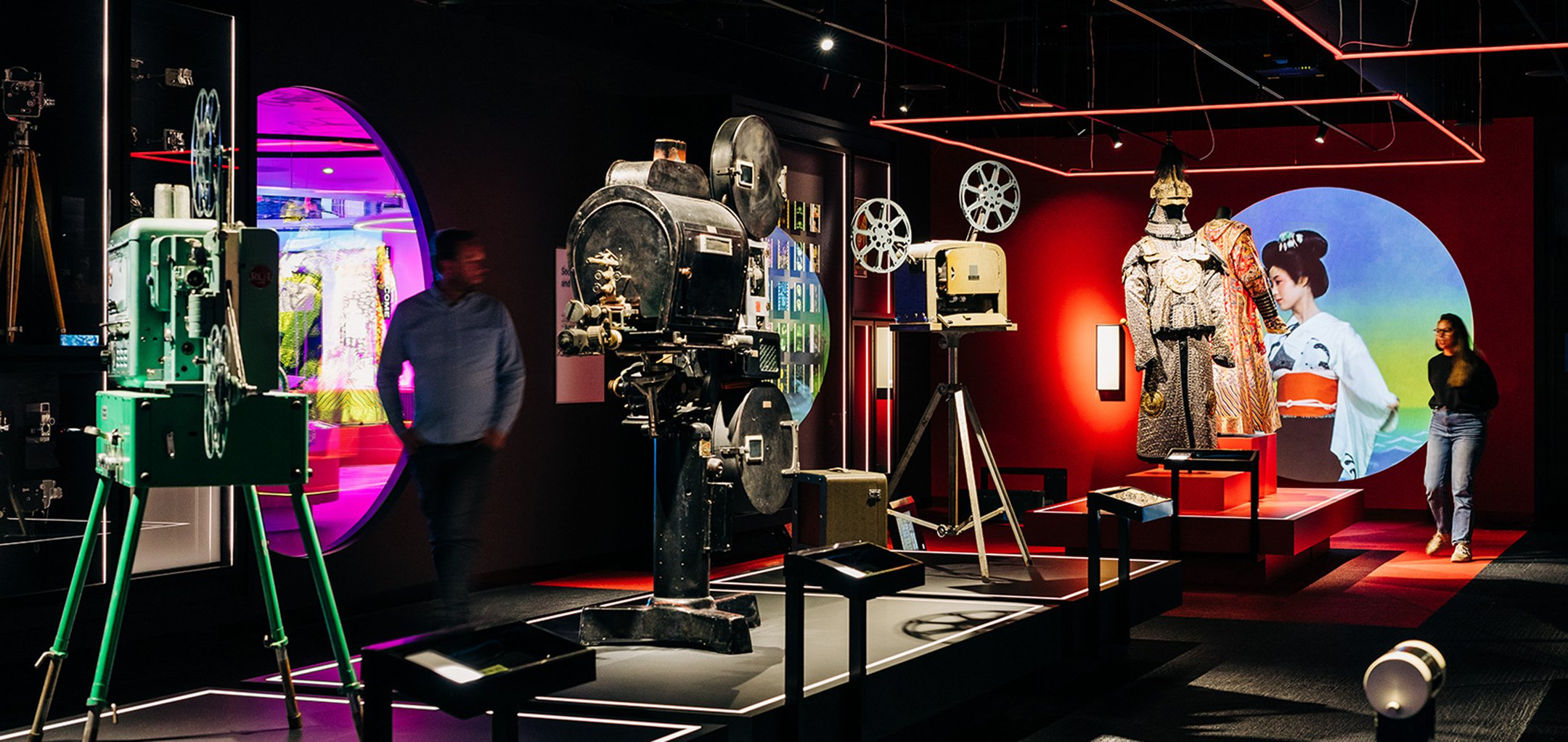 The Story of the Moving Image - vintage cameras on tripods (credit: Adam Gibson)