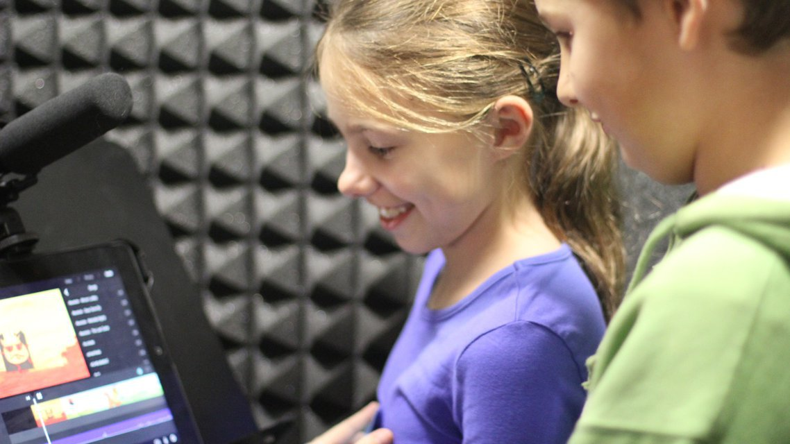 Sound booth students