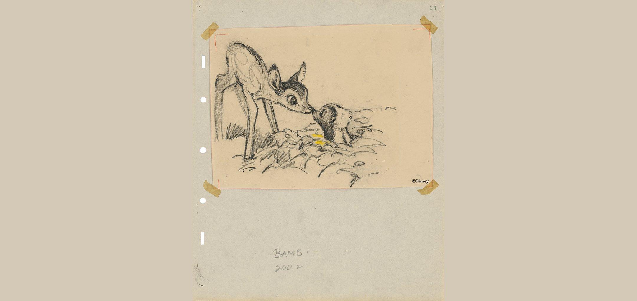 Bambi (1942), Disney Studio Artist, Story Sketch, coloured pencil and graphite on paper. © Disney
