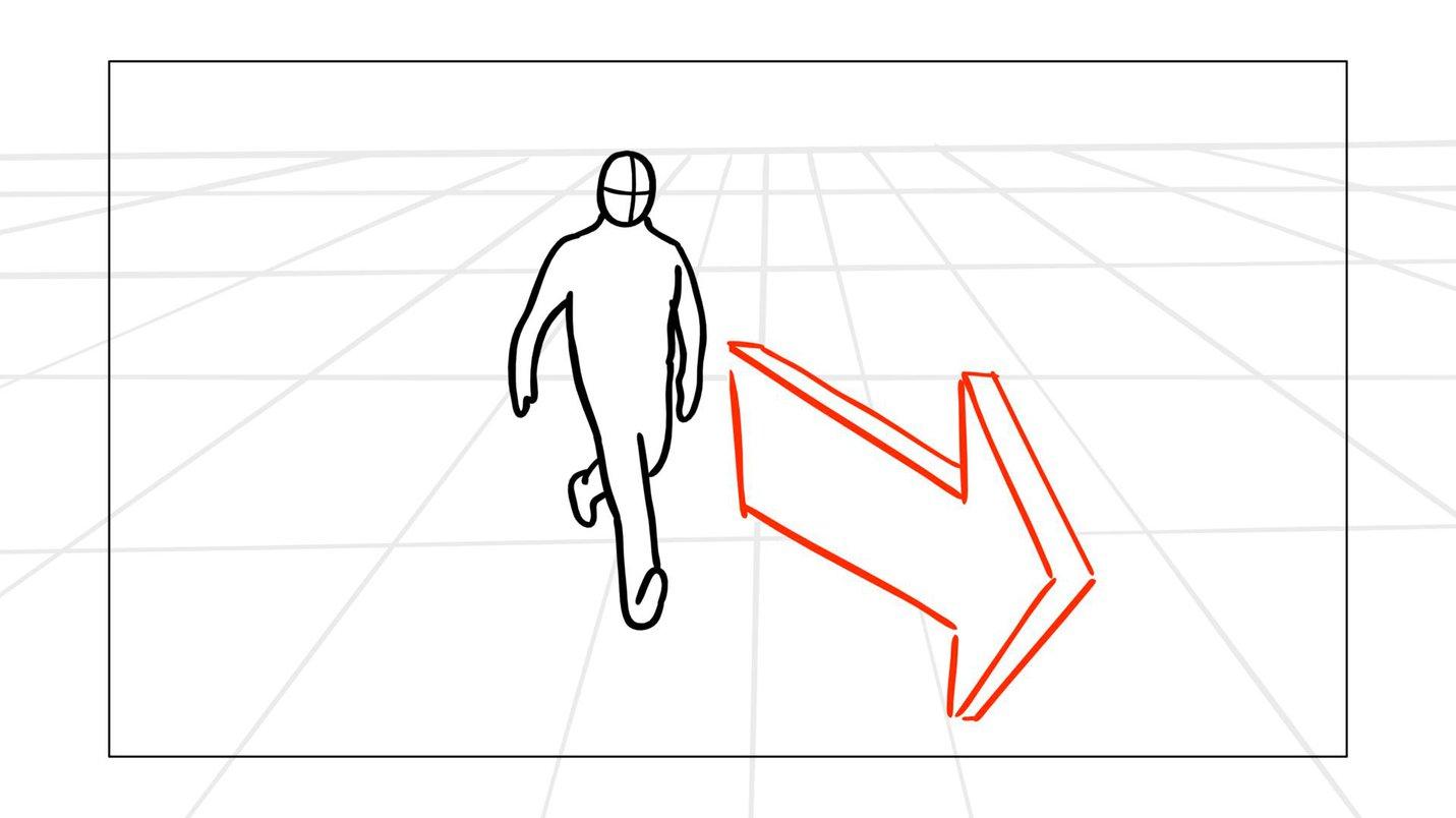 Storyboard arrow character 1