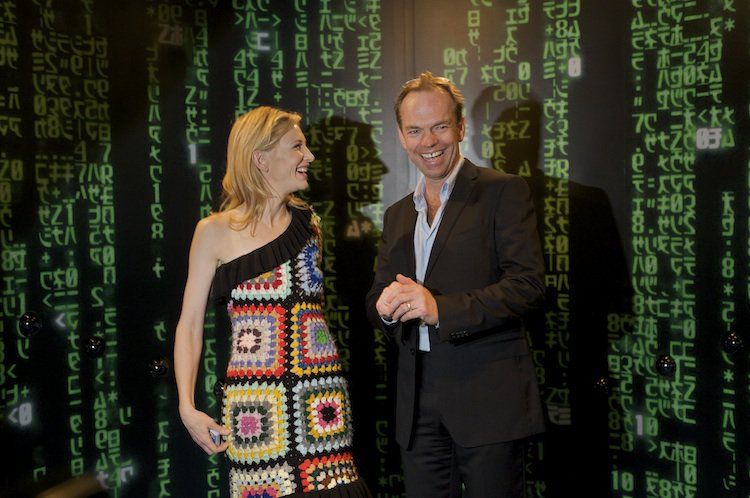 Cate Blanchett and Hugo Weaving enjoying the Matrix Timeslice, at Screen Worlds' opening party in 2009