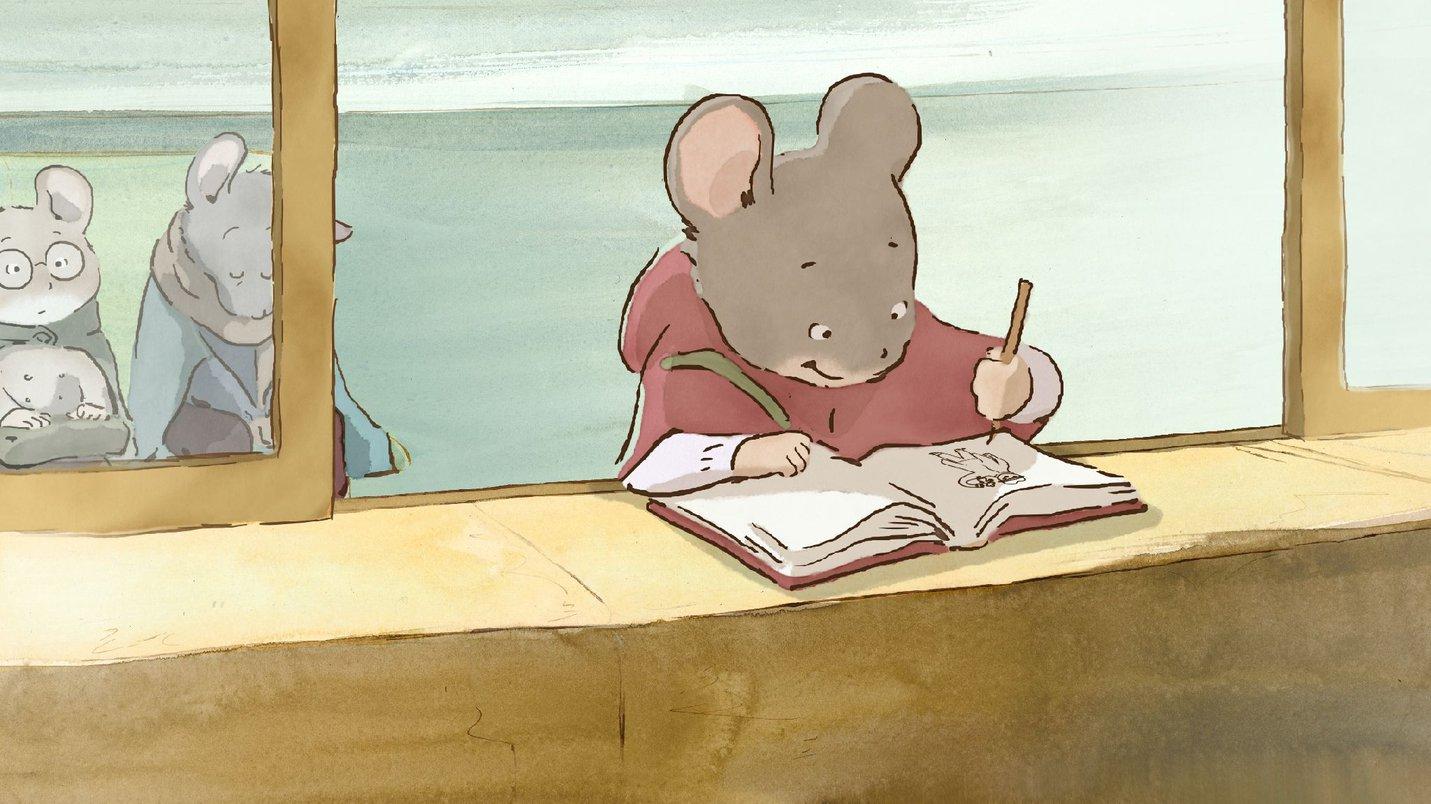 Cartoon Celestine mouse drawing in their sketchbook