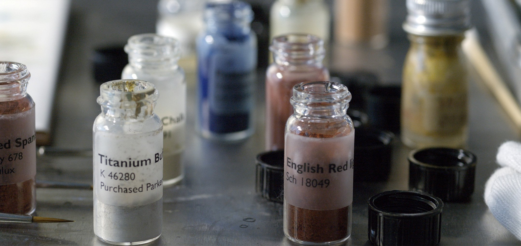 Pigments for retouching. Still from 'Darling Darling' by Gabriella Hirst 2020 IPMIC Commission