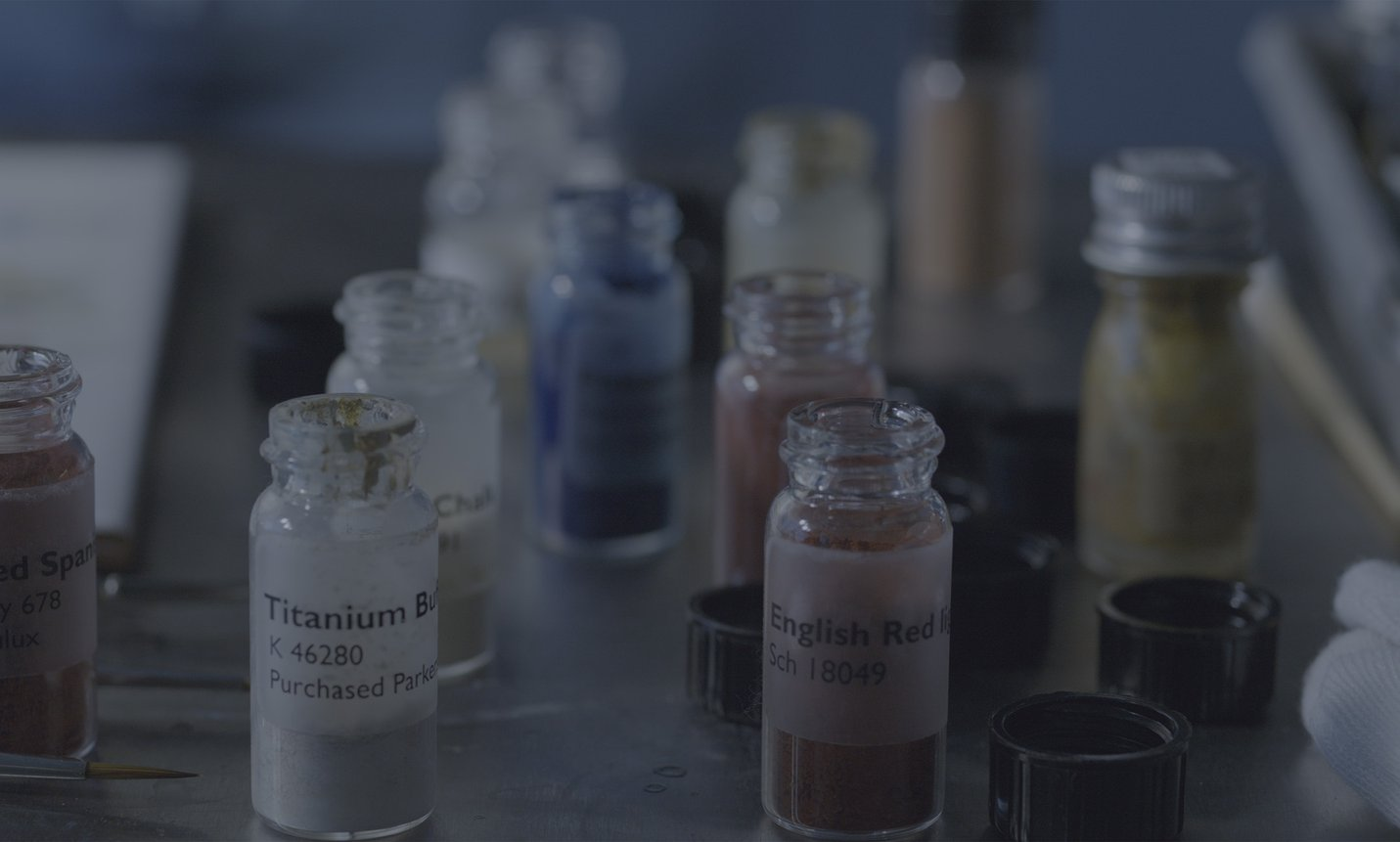 Painting conservation department AGNSW, pigments for retouching - Darling Darling