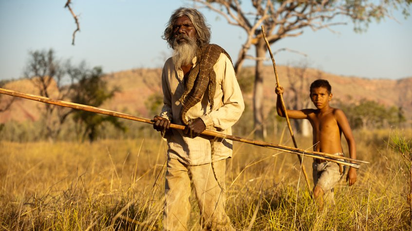 Satellite Boy David Gulpilil and Cameron Wallaby with Lizard