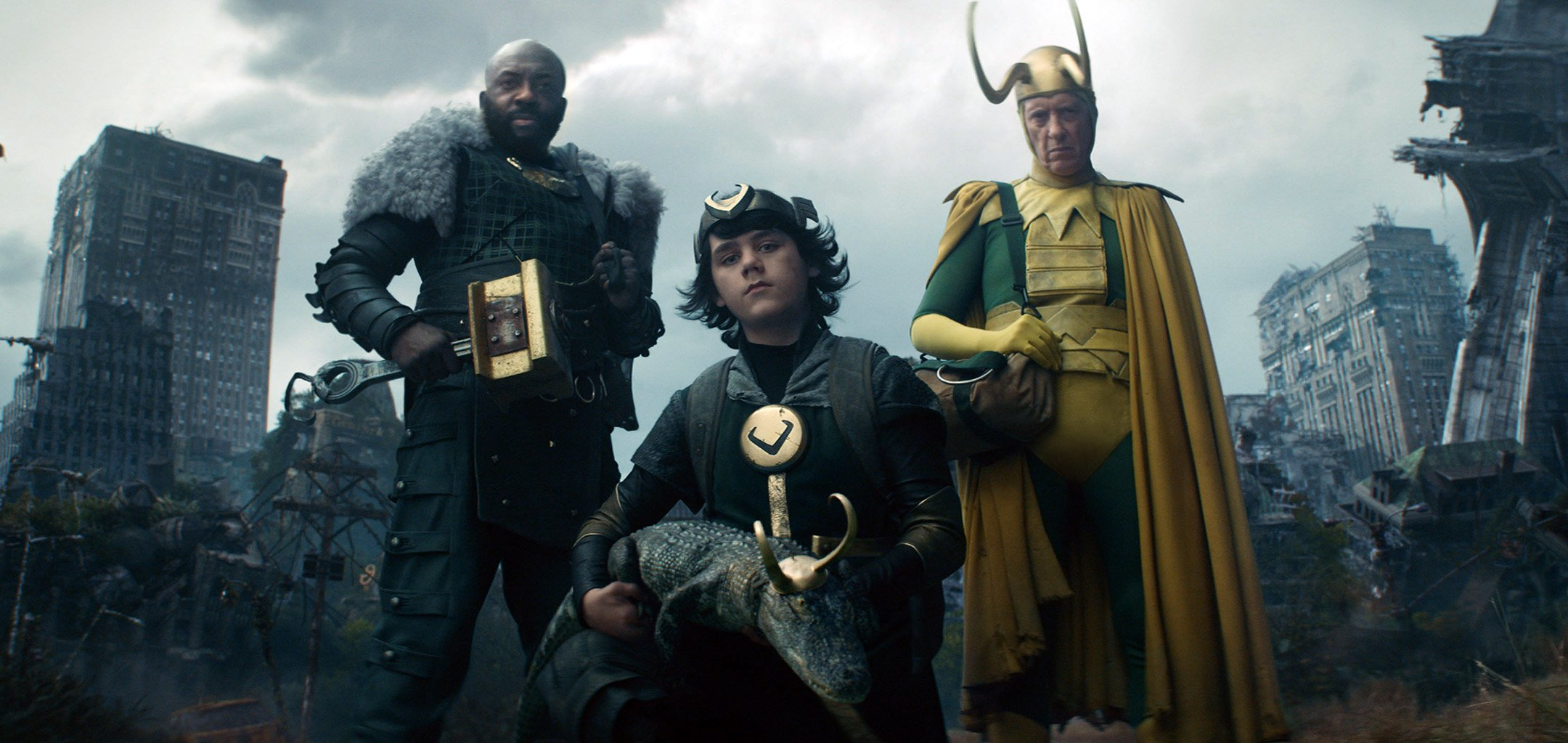 Deobia Oparei, Jack Veal and Richard E Grant in a promotional shot from 'Loki' (2021- ).jpg