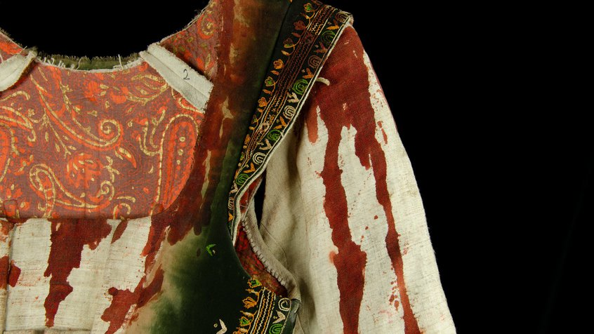 Detail of Judy's bloodied costume in Judy & Punch (photograph by Egmont Contreras)