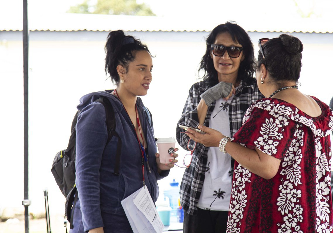 Director Hanelle Harris (left) on the set of Sis The Show