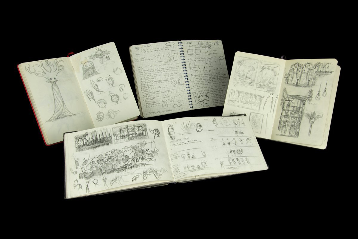 Hollow Knight development sketchbooks