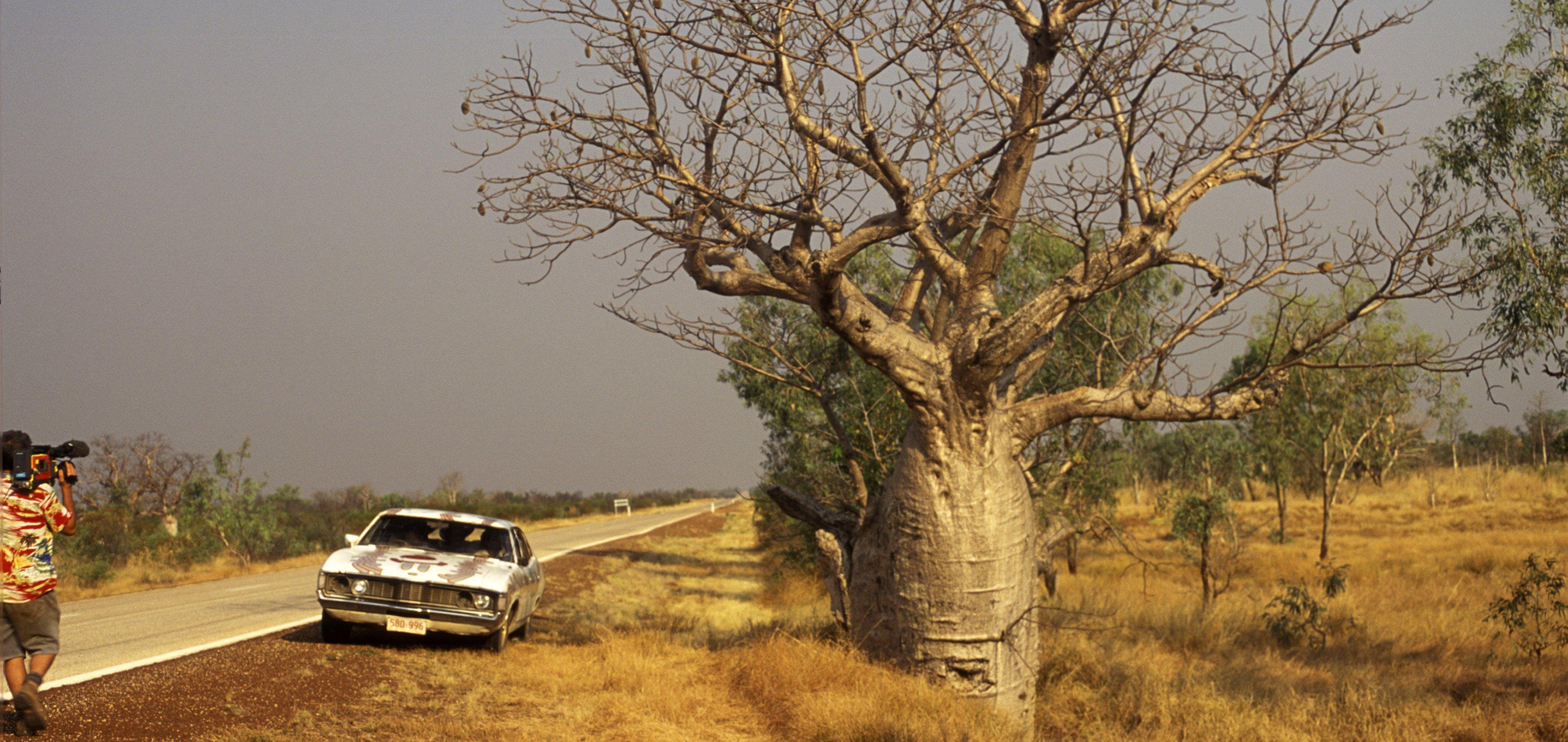 Filming Bush Mechanics on a track near a baobab tree - hero image