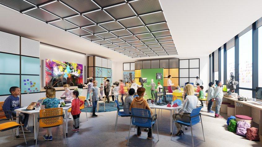 Artist render of Gandel learning lab with children in a workshop