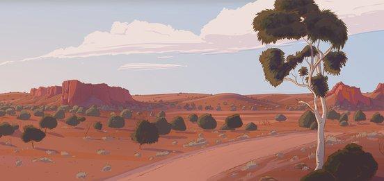 Little J and Big Cuz final desert concept sketch, Tony Thorne, 2017 (Courtesy Australian Children's Television Foundation)