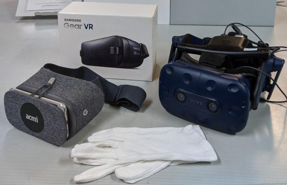 Google Daydream, Samsung Gear VR and HTC Vive Pro headsets. The three different sets of hardware used to experience the three different works examined as part of this project.
