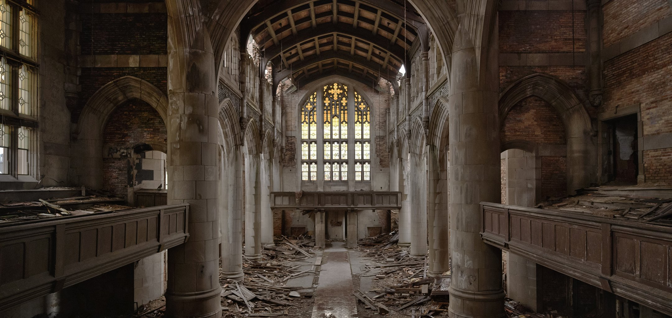 The interior of a grand, dilapidated church - still from 'Homo Sapiens' (2016)