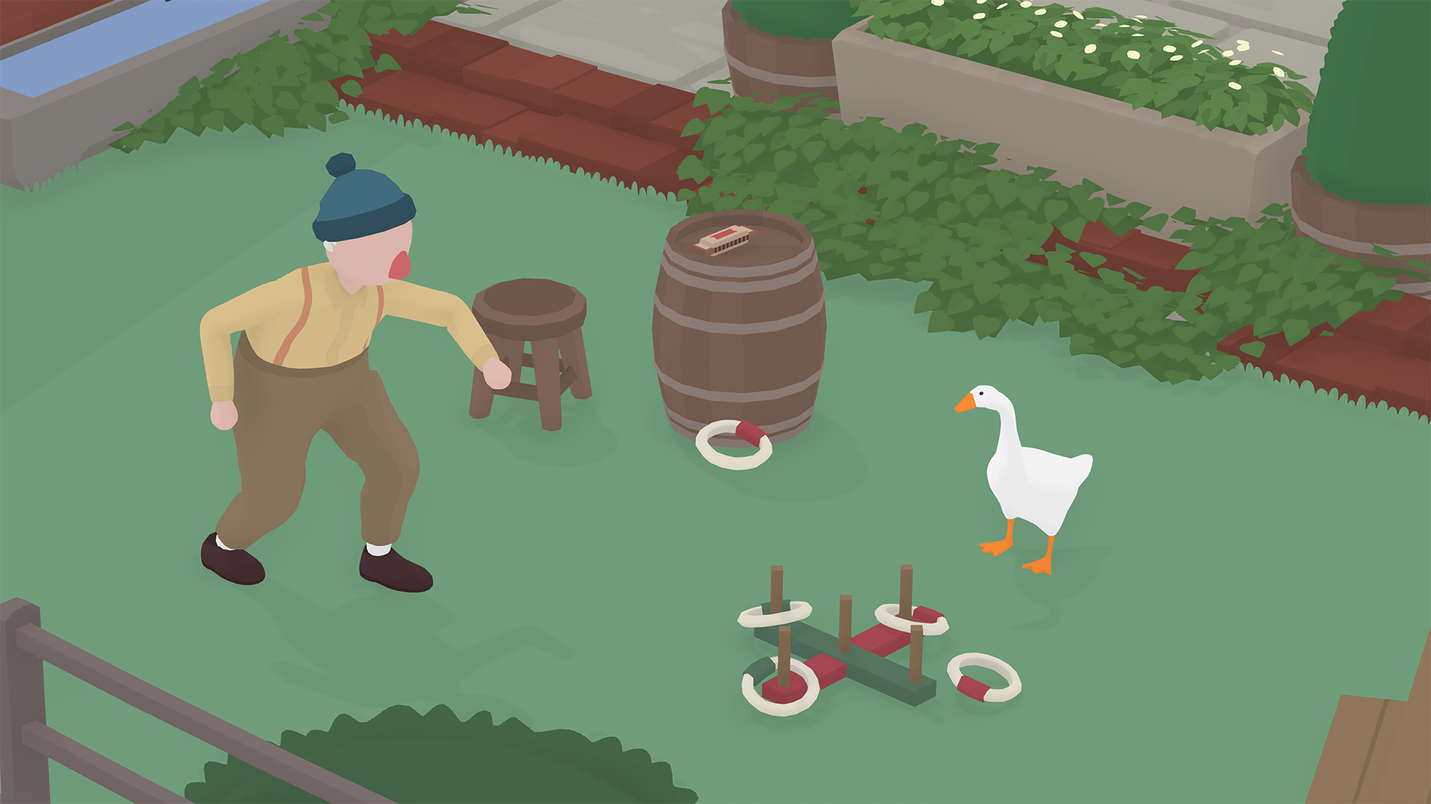 Untitled Goose Game horrible goose screenshot with farmer