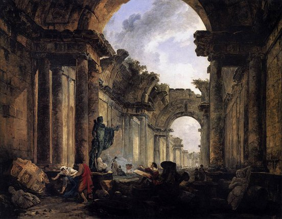 Imaginary View of the Grande Galerie of the Louvre in Ruins
