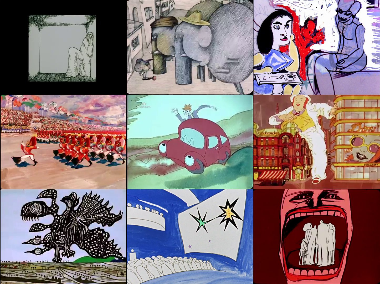 Various stills from the 'It's A Mad, Mad Pannonia World' program