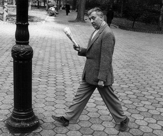 Jacques Tati about to run into a pole