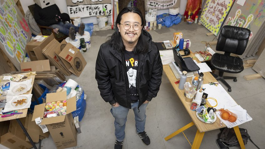 Artist Jason Phu in his studio