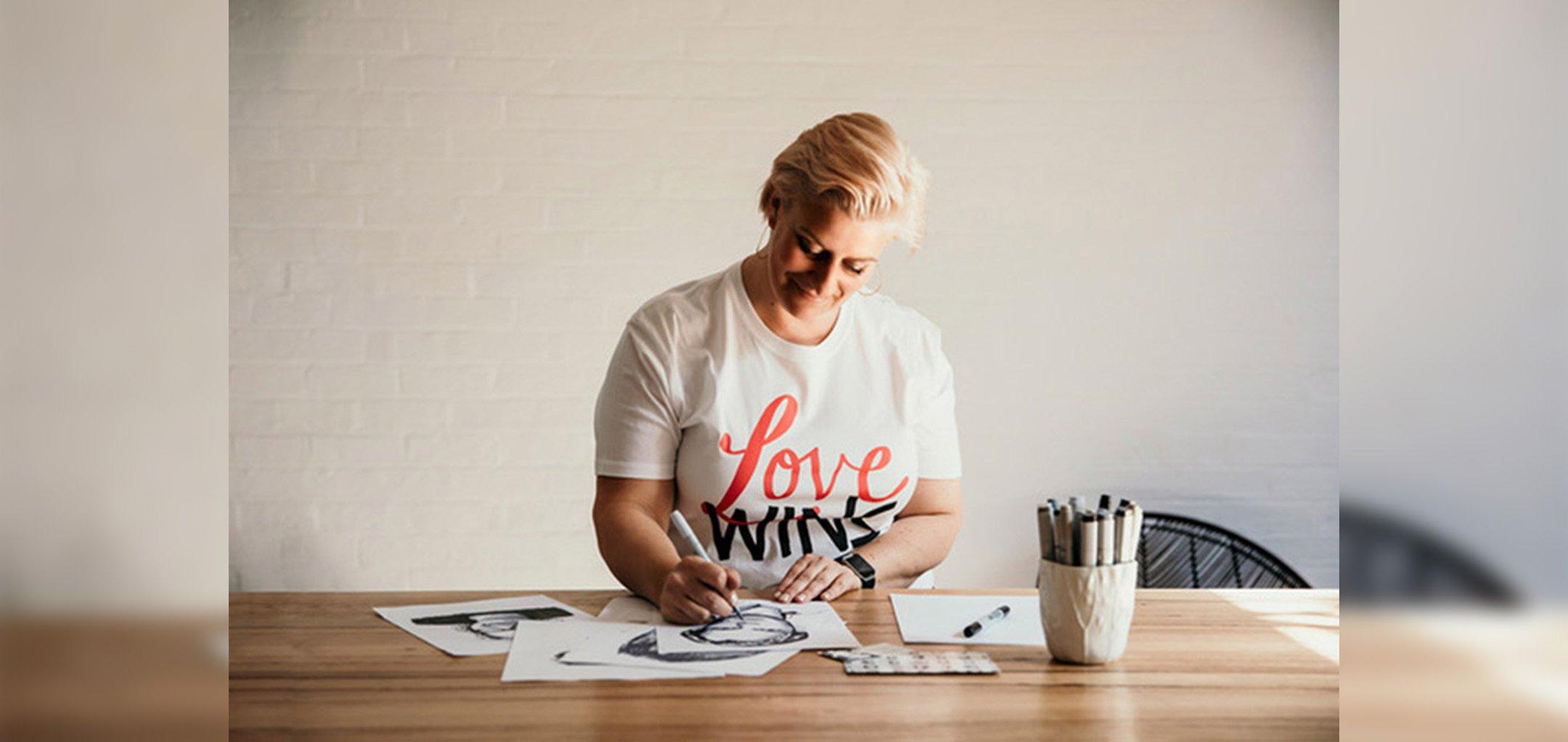 Jess McDonald working on her t-shirt designs