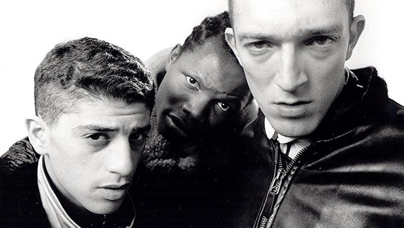 Publicity still from 'La Haine' (1995) with main cast - black and white