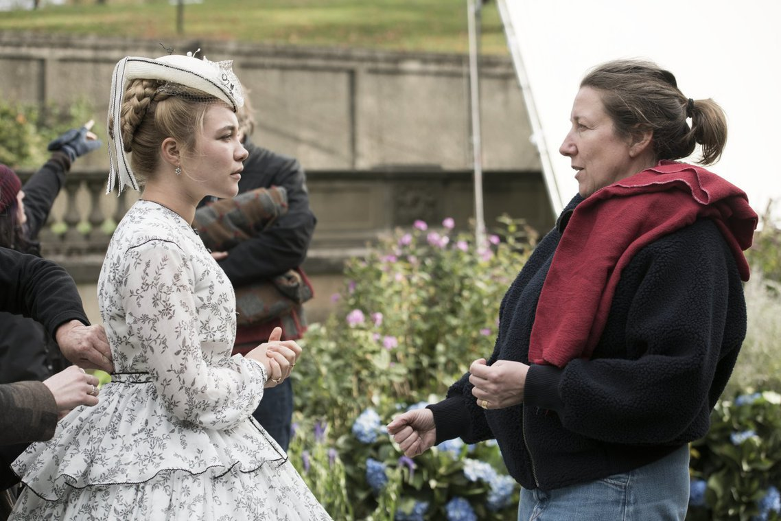 Florence Pugh and Jacqueline Durran on the set of Little Women