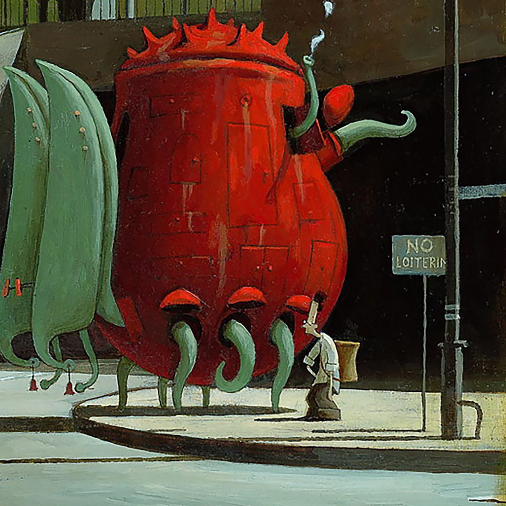 The Lost Thing Shaun Tan square red image for introducing the book