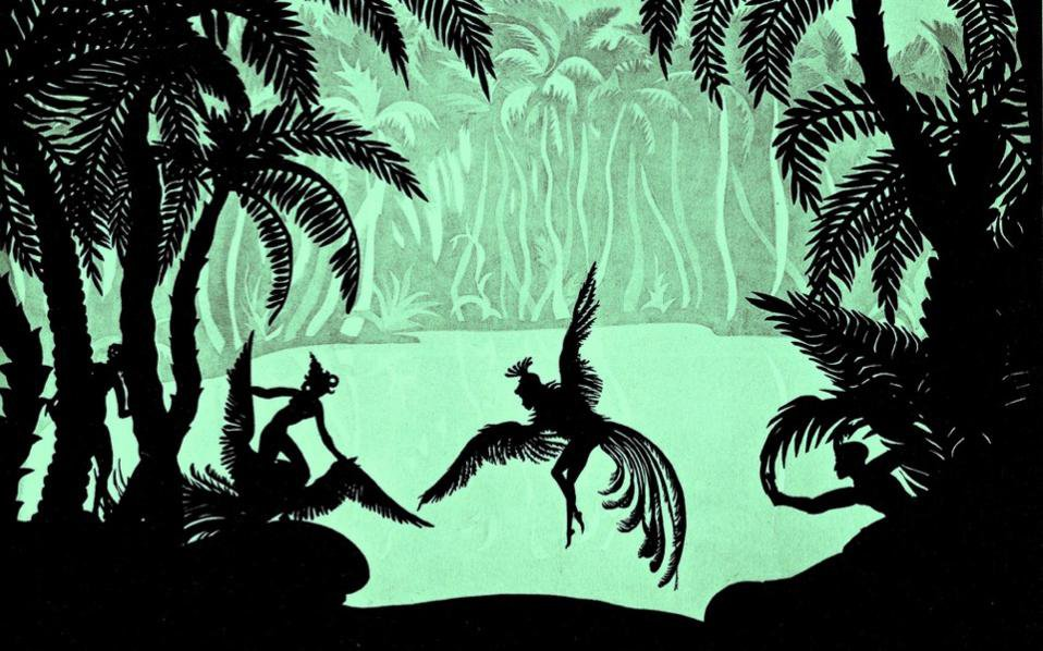 Two silhouetted bird-human figures against a green tropical forest background in a still from The Adventures of Prince Achmend (1926) by Lotte Reiniger