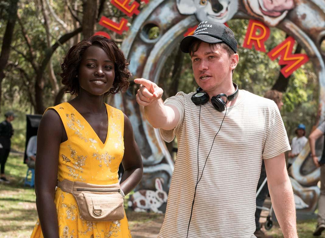 Lupita Nyong'o (Miss Caroline) on set with director Abe Forsythe