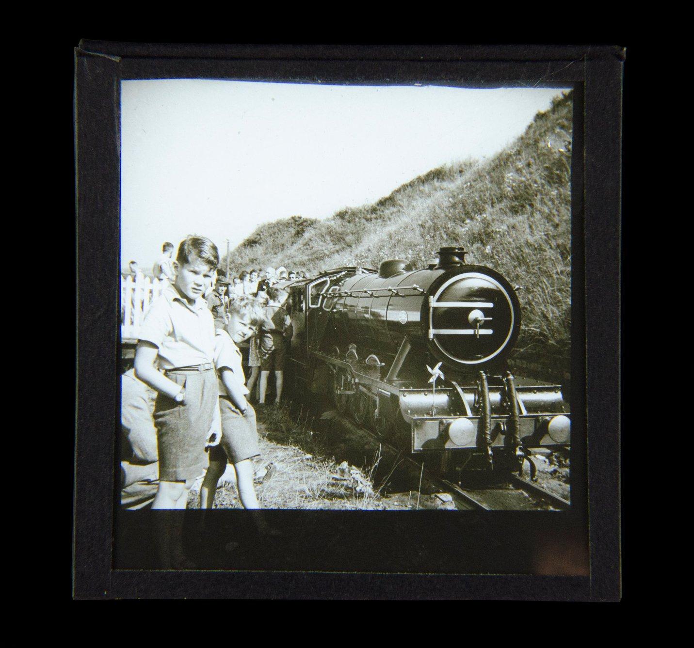 Magic Lantern Slide - Steam engine c1930 photo North Bay railway Scarborough.jpg