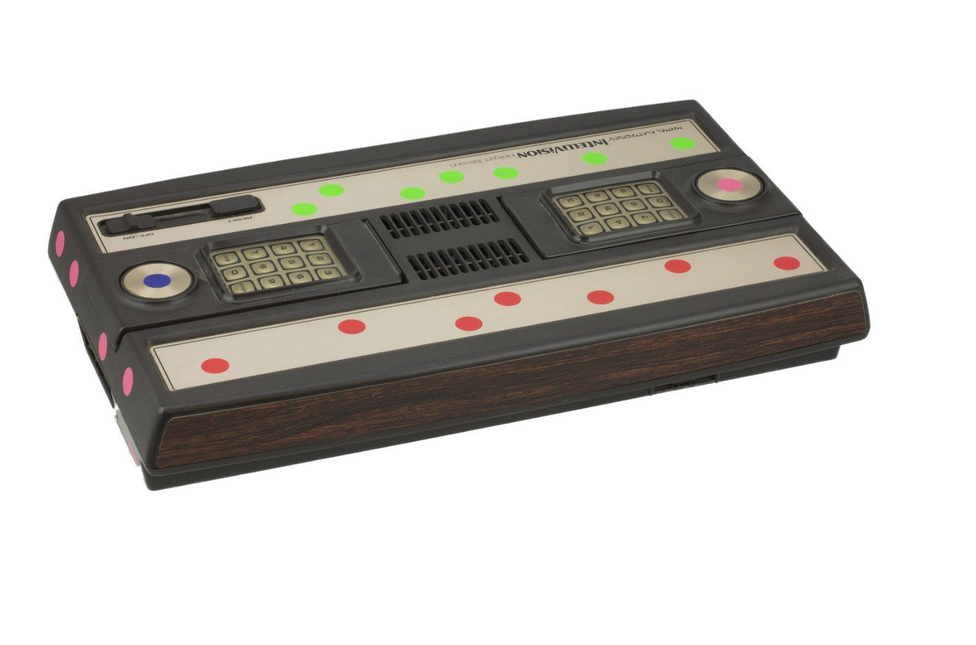 Mattel Intellivision with removable coloured stickers to assist with processing