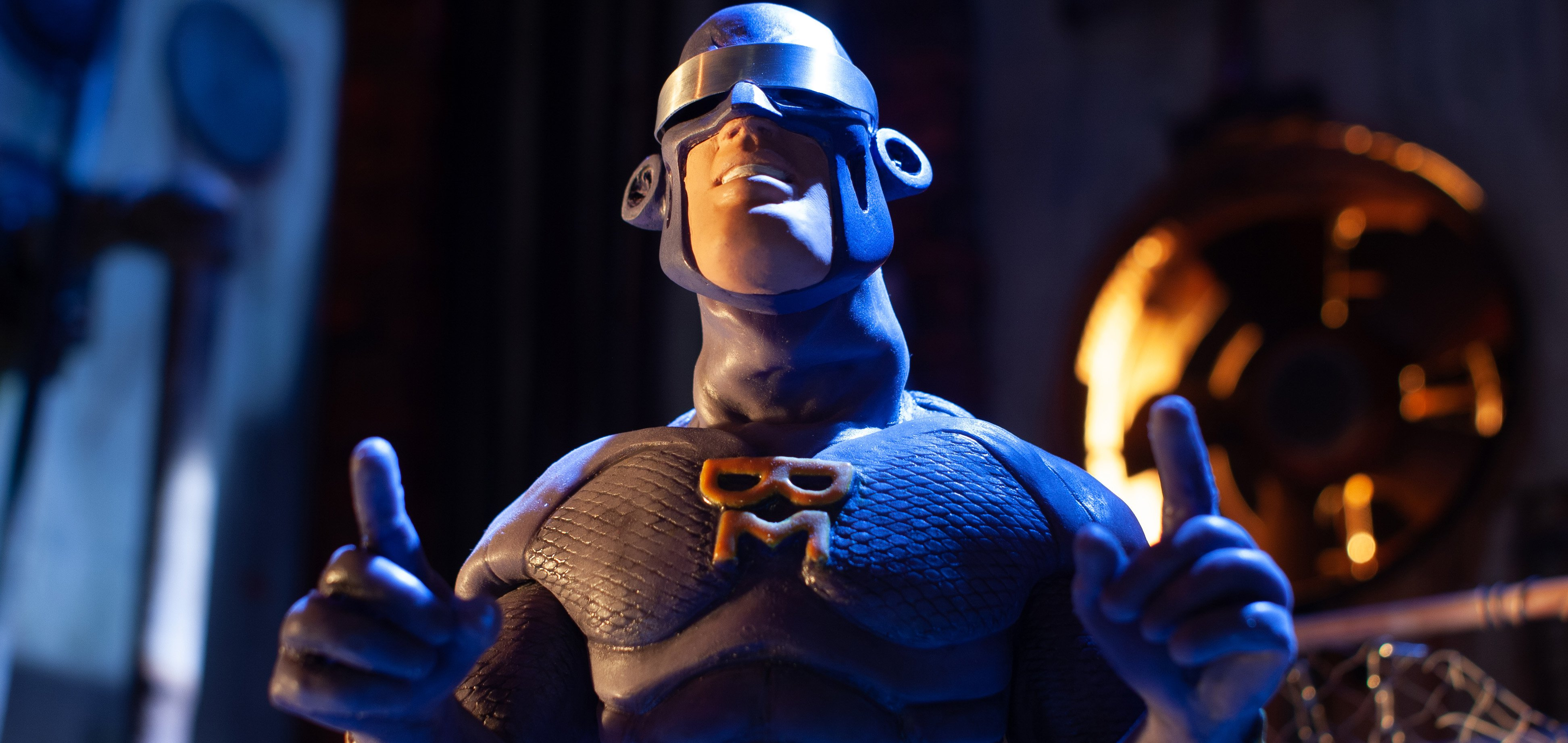 Stop motion superhero. Still from 'Meanwhile, At The Abandoned Factory…' by Michael Cusak
