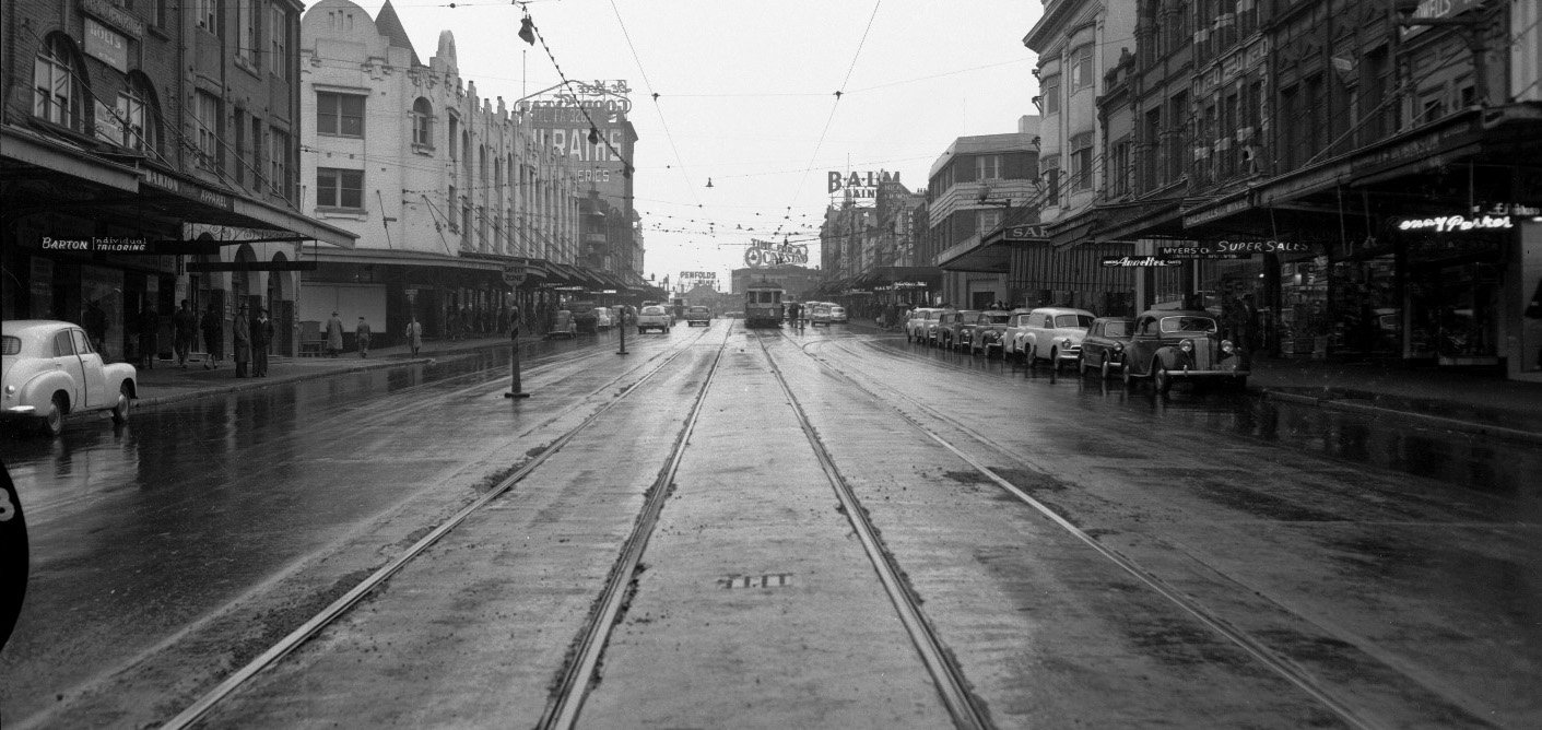 Mebourne street in the mid 20th century - still from Ross Gibson's head_phone_film_poems
