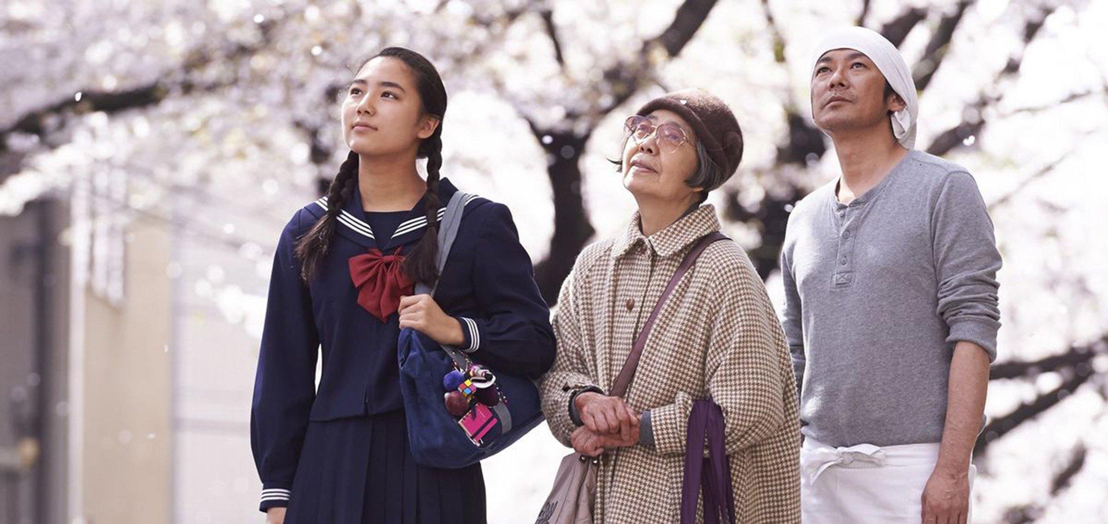 Nagase Masatoshi, Kyara Uchida, Kirin Kiki in a still from 'An (Sweet Bean)' (2015)