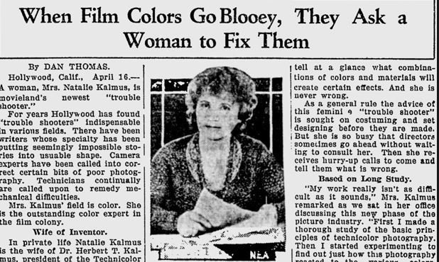 Natalie Kalmus Newspaper Article Technicolor Pioneer.jpg