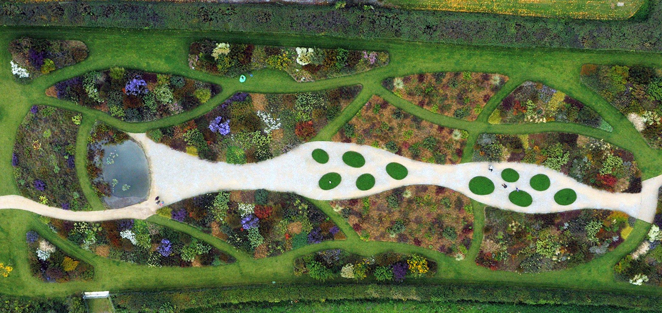 Overhead shot of ornate garden from 'Five Seasons- The Gardens of Piet Oudolf' (2017)