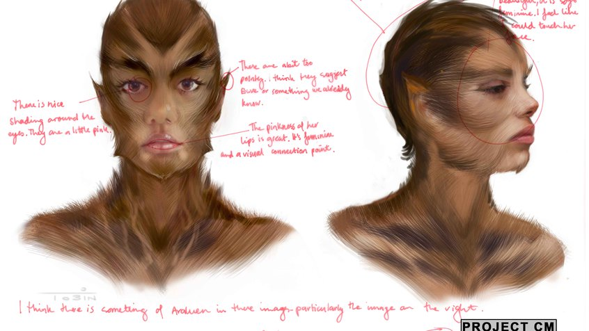 Cleverman concept art with feedback from Jacob Nash