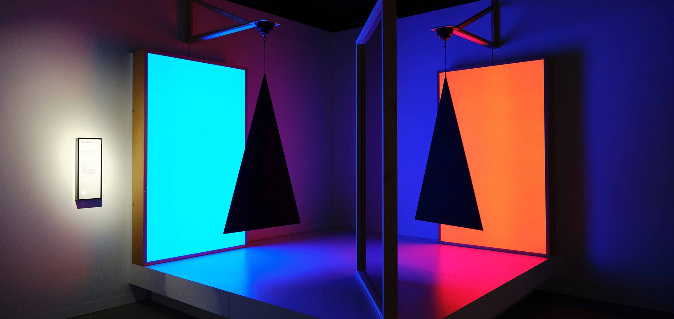 Pepper's Ghost, triangles, cyan and red, an art installation by Taree Mackenzie at ACMI