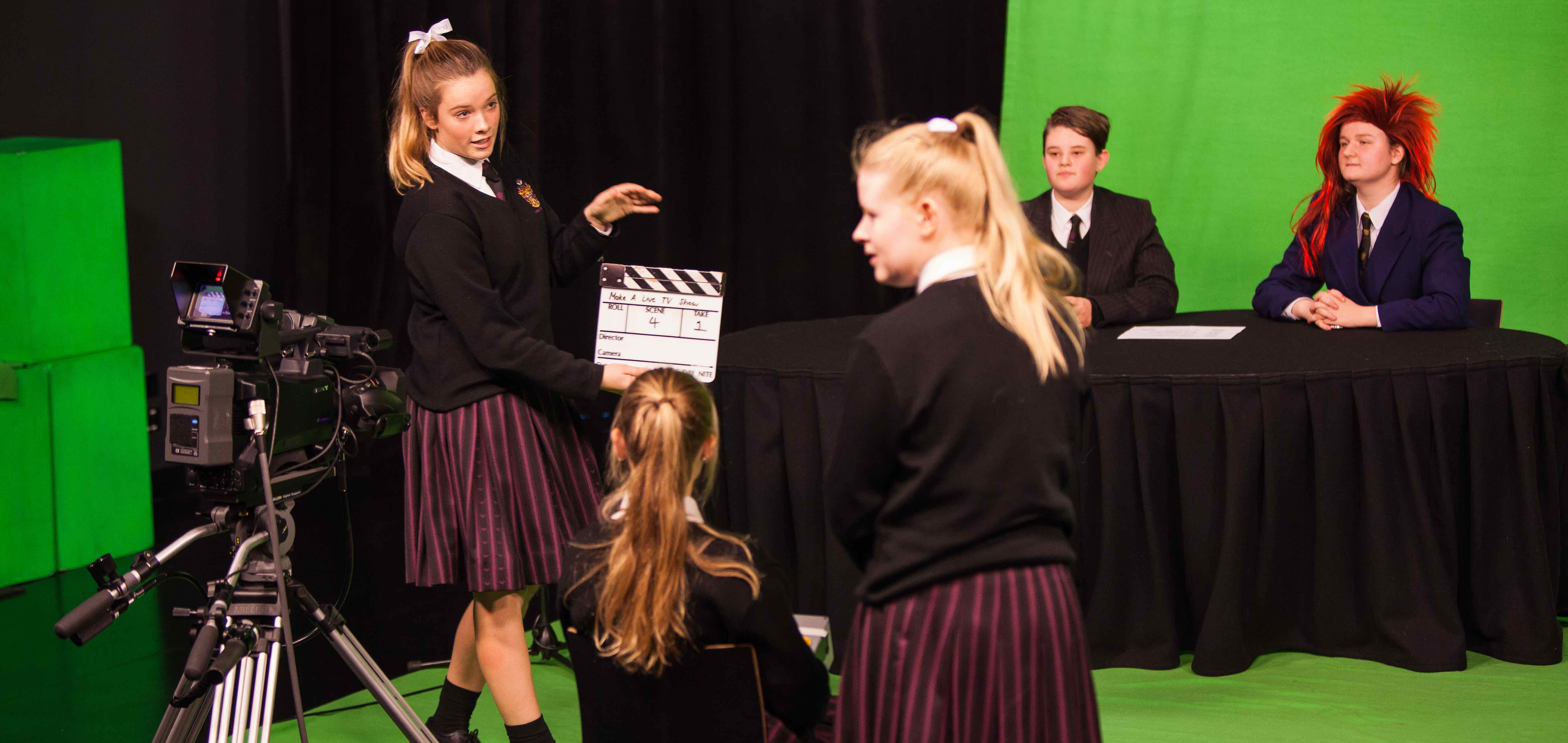 Year 9 students on green screen credit Mark Gambino