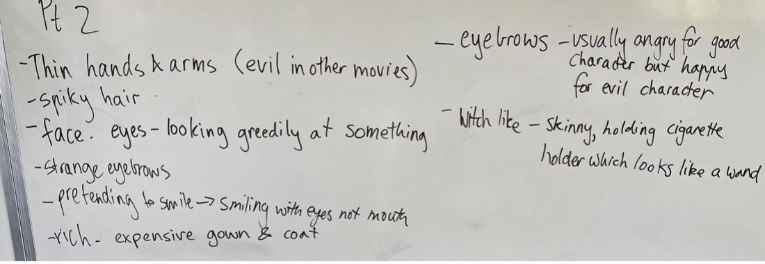 Photo of students' thoughts on Cruella's character (2)
