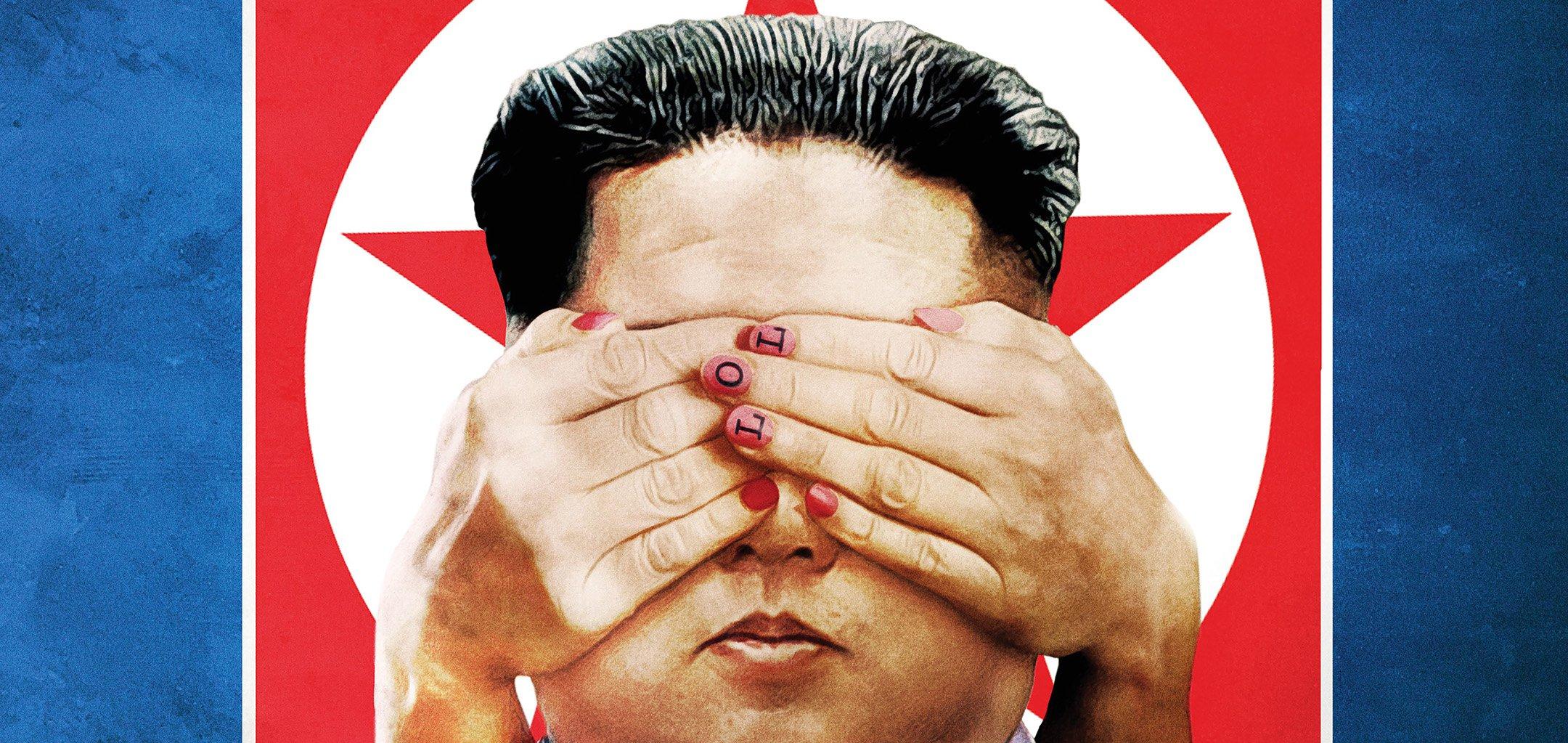 Poster art from Assassins - a pair hands covering Kim Jong Un's eyes